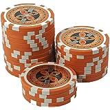 suplaya 50 Pokerchips 13g Clay (Ton) Laser Metallkern Ultimate hochwertige Markenware einzigartig (orange - Wert 10000)