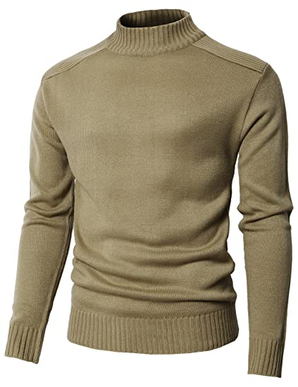 H2h Mens Casual Slim Fit Pullover Turtleneck Sweaters Knitted Long