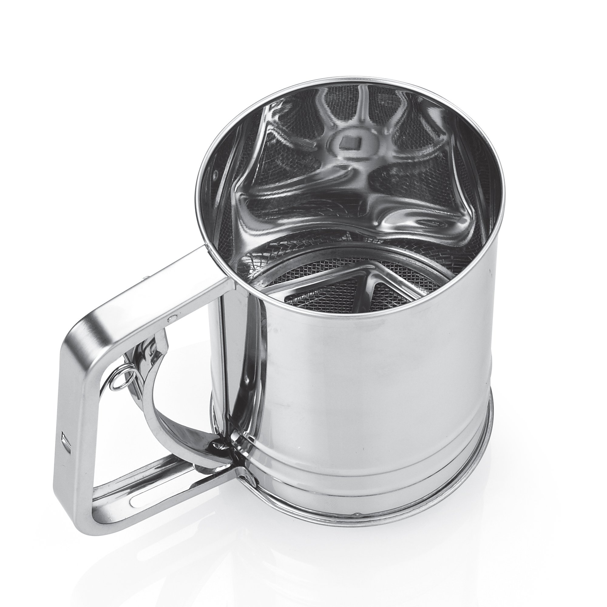 Cook N Home 3-Cup Stainless Steel Flour Sifter, Squeeze Handle
