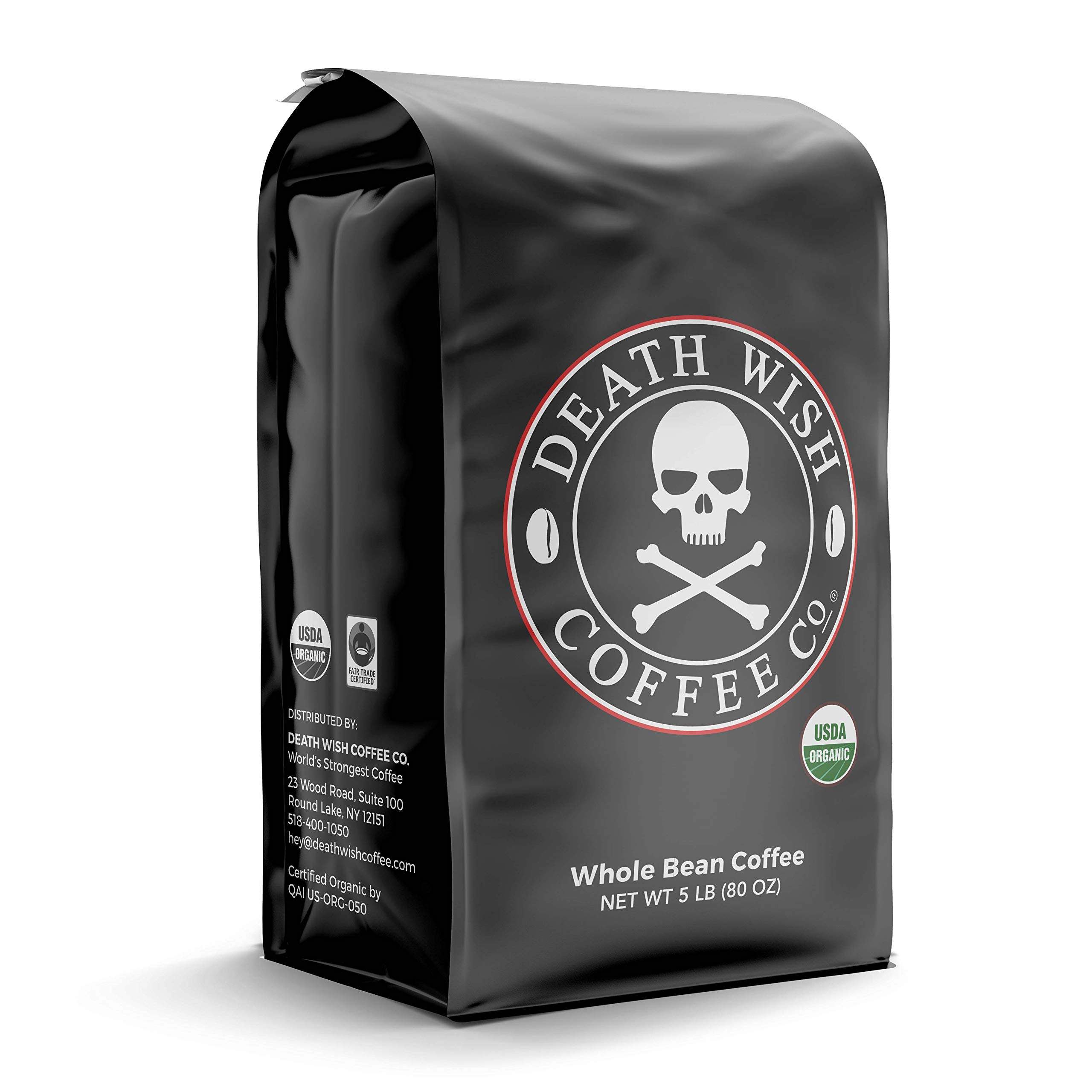 DEATH WISH COFFEE Whole Bean Coffee [5 Lbs.] The World's Strongest Coffee, USDA Certified Organic, Fair Trade, Arabica and Robusta Beans (1-Pack)