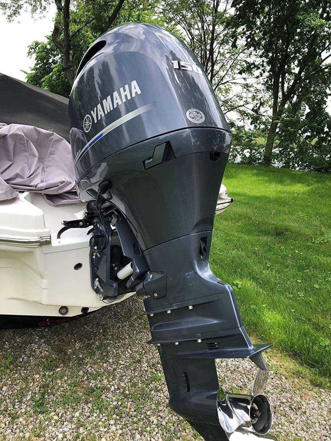 WWWANG Full Outboard Boat Motor Cover Waterproof UV Resistant Thick Polyester Fabric Outboard Motor Hood Up To 150 Horsepower Size : 210D UP-5HP