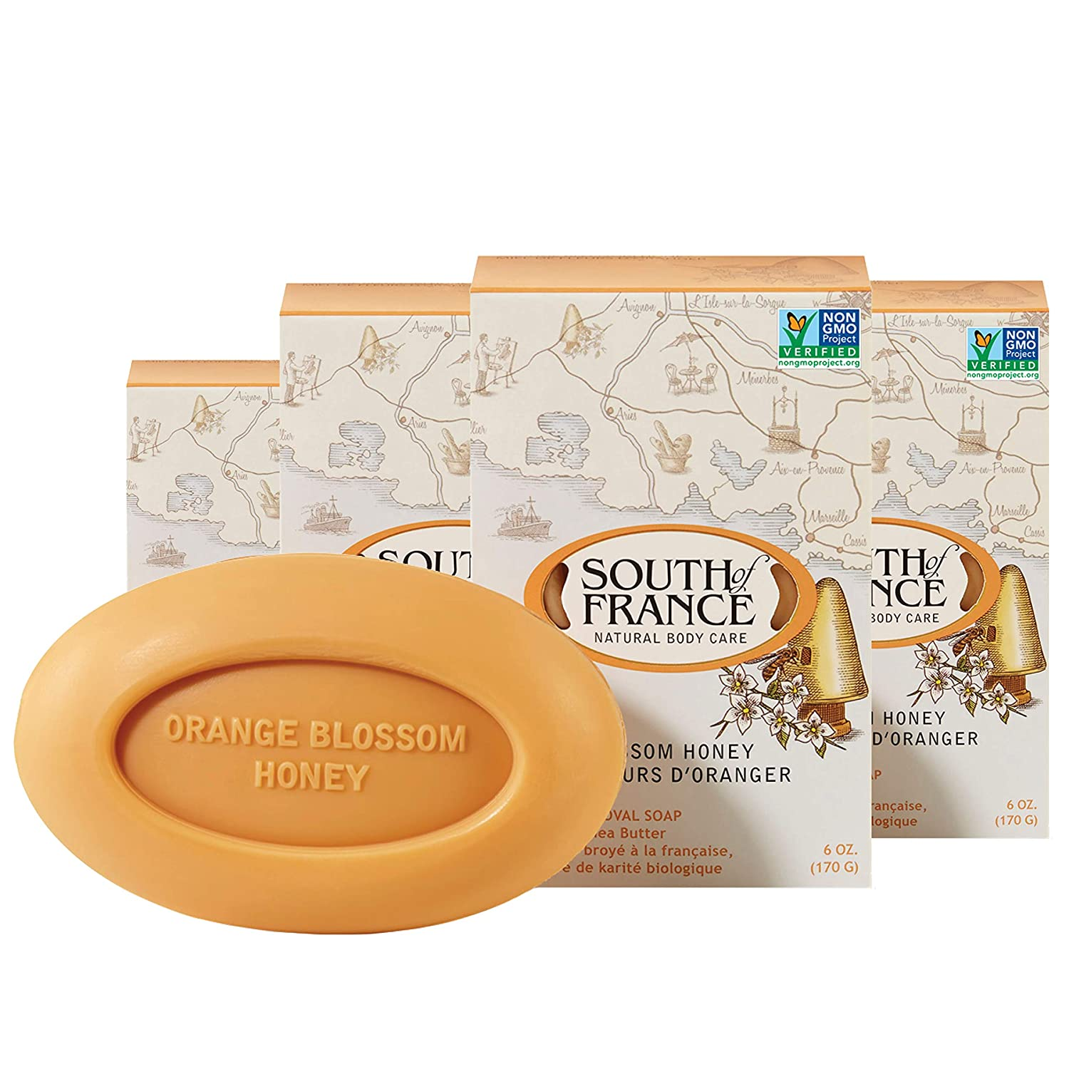 Orange Blossom Honey Natural Bar Soap by South of France Natural Body Care | Triple-Milled French Soap with Organic Shea Butter + Essential Oils | Non-GMO Body Soap | 6 oz Bar – 4 Pack