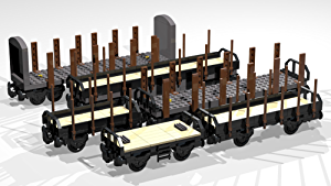 Collection of six 4- and 8-Wheel Stake Wagons: Lego MOC building instructions (Lego Train MOC Plans Book 2)