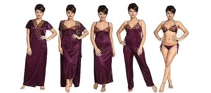 b2aa54edd7 TUCUTE Women s Satin Nightwear Set of 6 Pcs Nighty