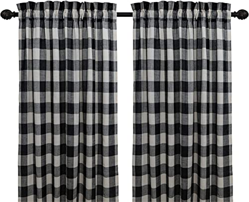 Creativesfun Buffalo Check Plaid Gingham Custom Fit Window Curtain Treatments Rod Pocket