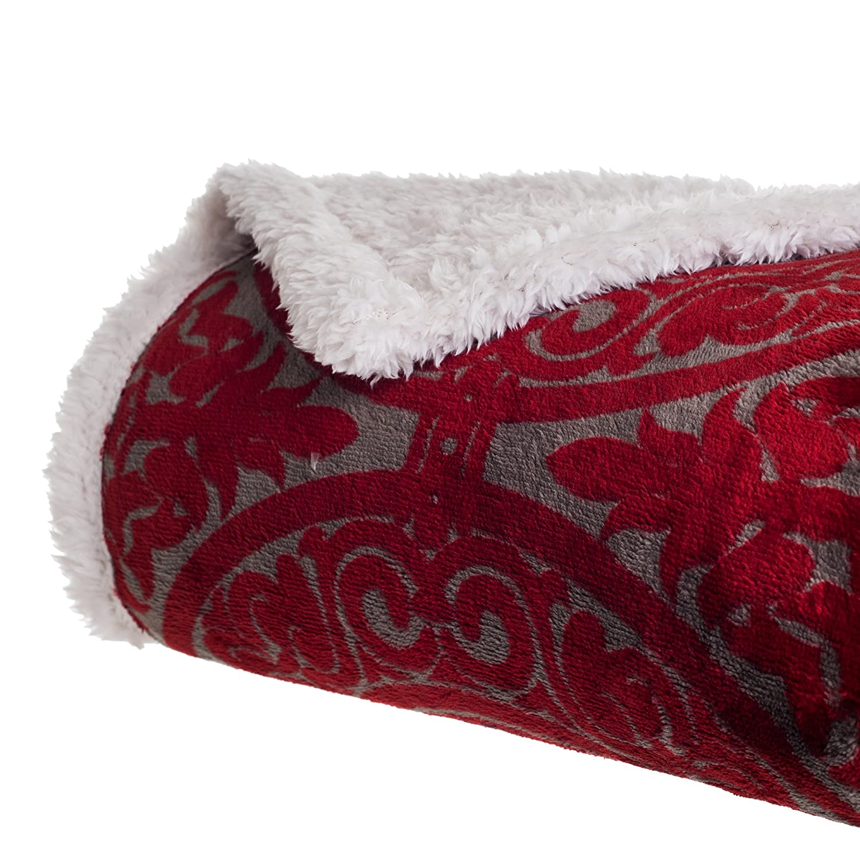Bedford Home bedruckt Coral weicher Fleece Sherpa überwurf Decke rot