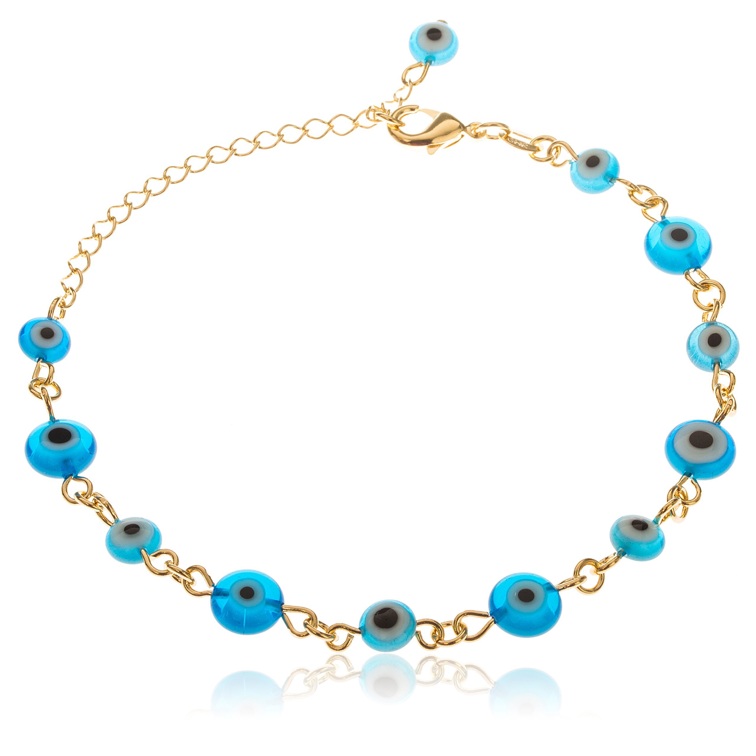 Two Year Warranty Gold Overlay with Alternating Shades of Blue Evil Eye Style 10 Inch Anklet with Dangling Charm (T-944)