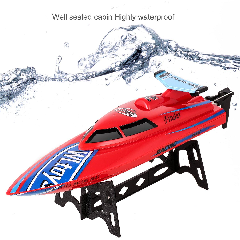 Smibie 2, 4 GHz RC Boot Electric Racing Boot 25KM/H High Speed Wasserdicht für Beginners Pools und Seen und Outdoor Adventure (Rot)