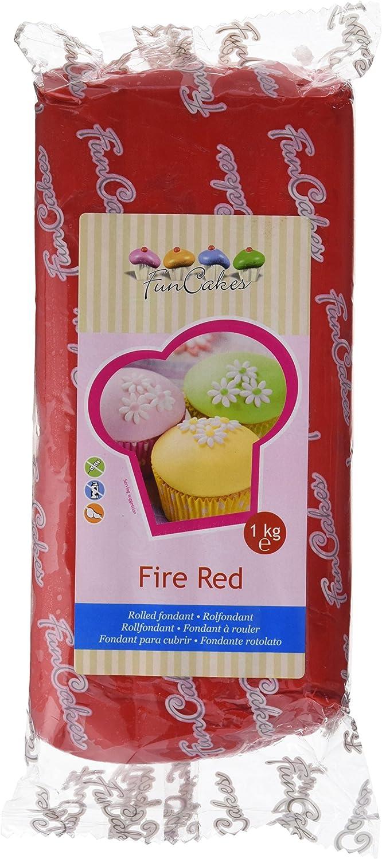FunCakes Fondant para Cubrir Tartas, Cupcakes, Galletas o Modelar color Rojo Fuego: Sabor Vainilla, Flexible, Sin Gluten, Halal, Kosher D, Apto Véganos, 1 kg, FC97360