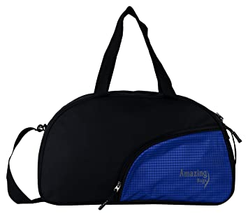 e7be990c58 Amazing Bags Polyester 50cms Black and Blue Sided Travel Duffle  Amazon.in   Bags