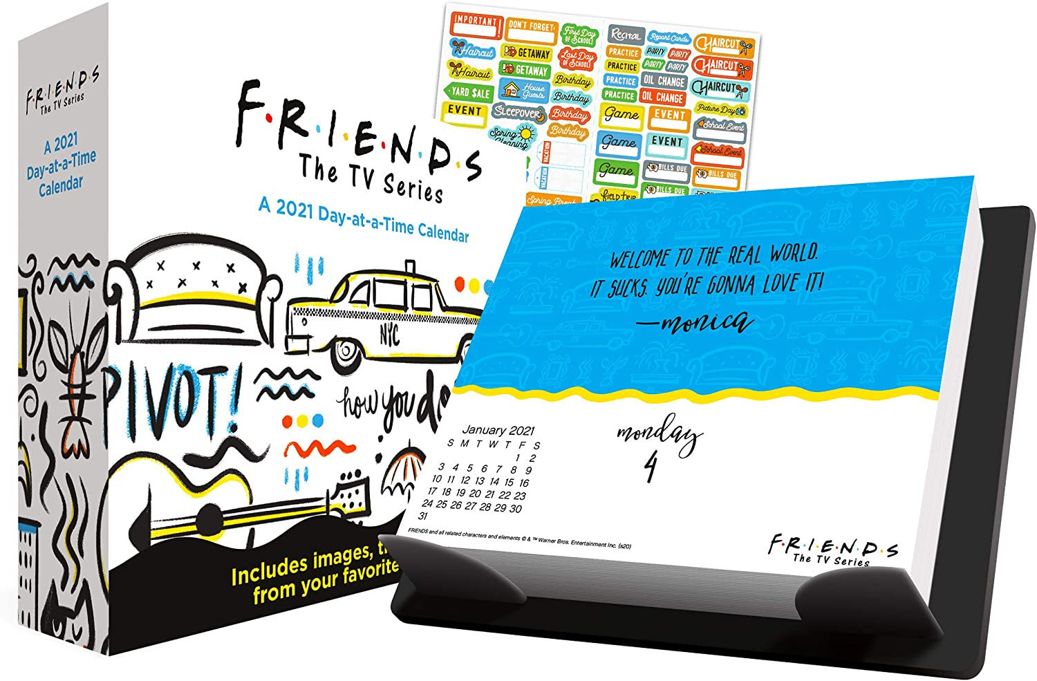 Friends 2021 Calendar, Box Edition Bundle - Deluxe 2021 Friends Day-at-a-Time Box Calendar with Over 100 Calendar Stickers (Friends Gifts, Office Supplies)