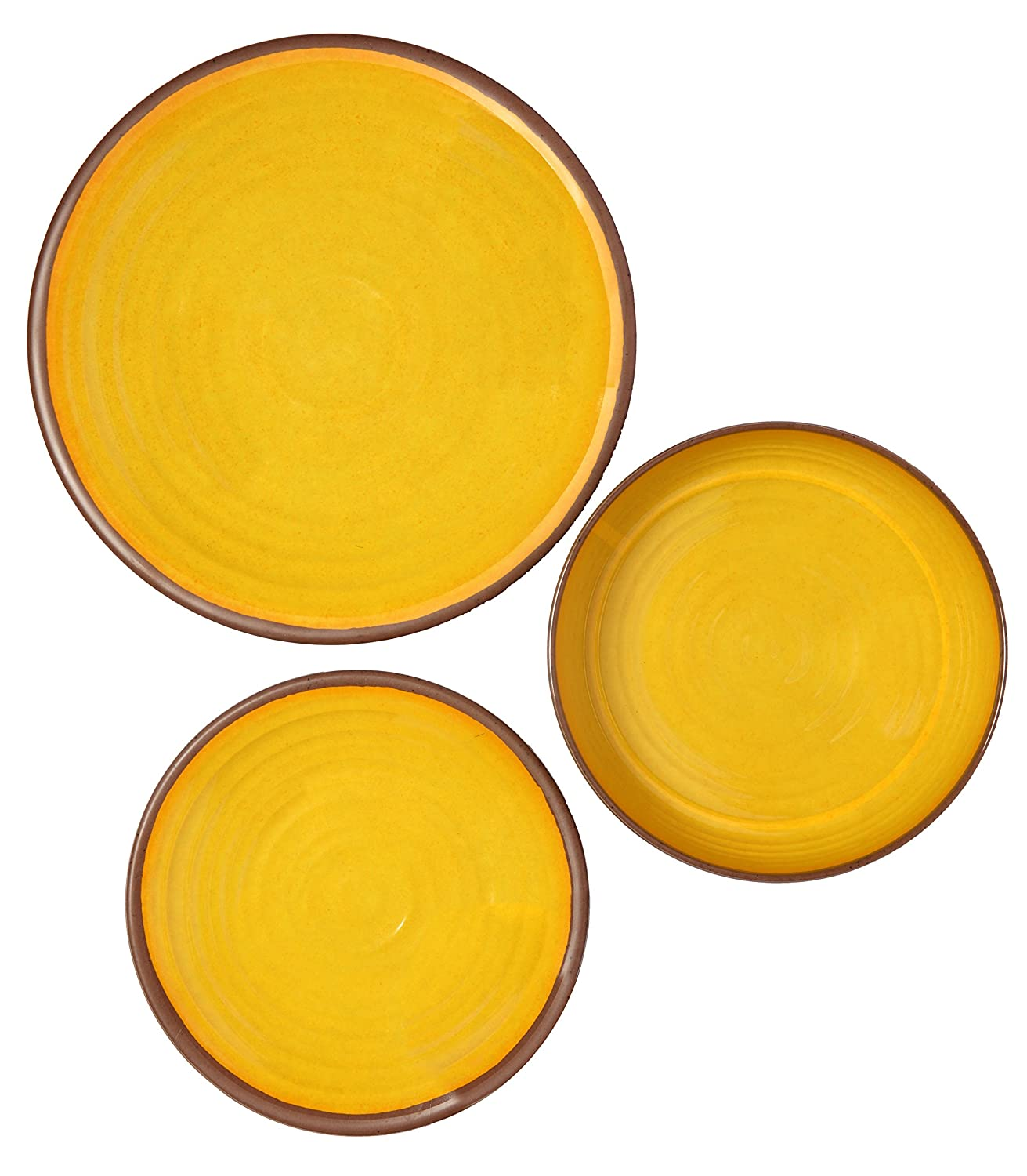 Melange 36-Piece 100/% Melamine Dinnerware Set | Shatter-Proof and Chip-Resistant Melamine Plates and Bowls Dinner Plate Clay Collection Color: Multicolor 12 Each Salad Plate /& Soup Bowl