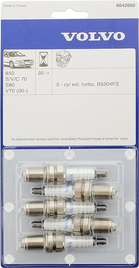 Volvo Spark Plug Spark Plug Set 5 Pieces Original Part No: 8642660 for Volvo 850, S60, S70 V70 (2000), S80 (-2006), V70 (P26): Amazon.de: Auto