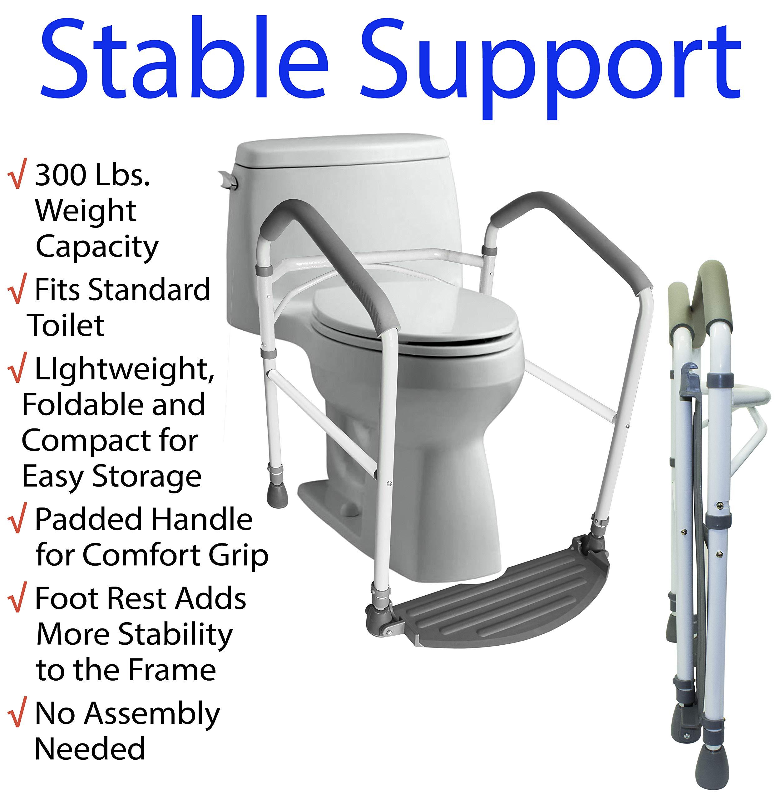 Toilet Safety Frame Rail Folding Portable Bathroom Safety Handrail Grab Bar  Adjustable Height White Livelyseniors Jpg