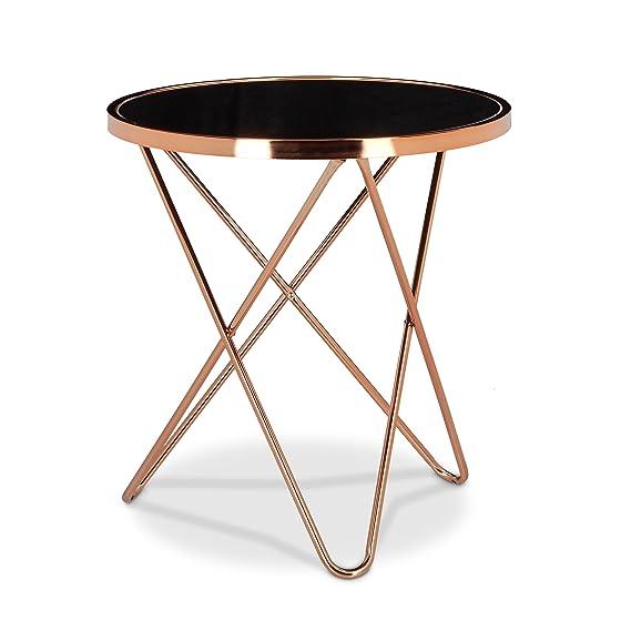 Relaxdays Table d appoint ronde en cuivre HxlxP  58 x 55 x 55 cm table  console tendance table basse pieds géométrique métal avec plateau en verre  noir ... ce2ead58496c