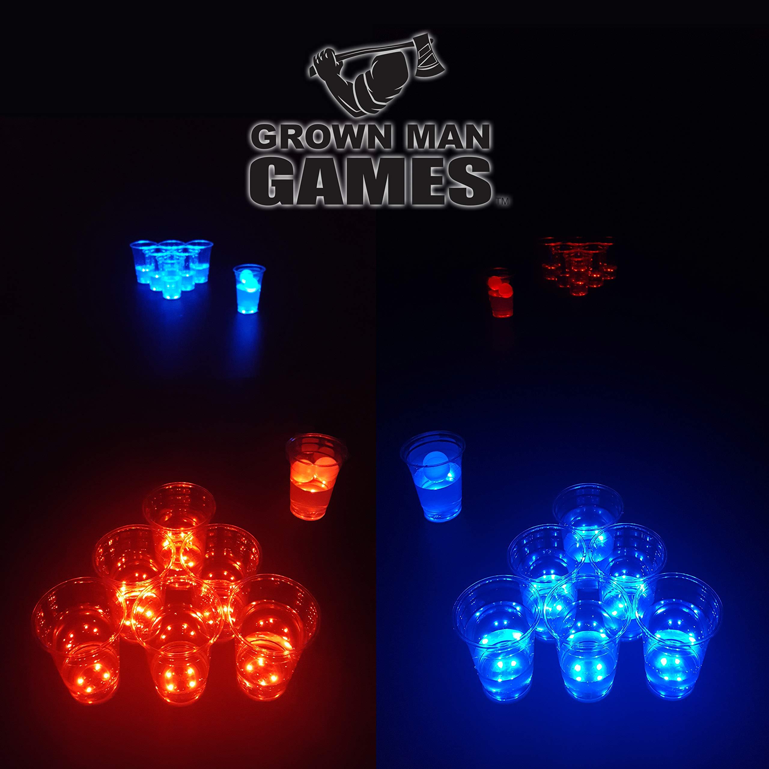 Grown Man Games Glow in The Dark Beer Pong Set - LED Beer Pong Cups and Glow-in-The-Dark Balls - 14 Cups and 2 Ping Pong Balls - Beer Pong Party Cup Set (14 Cups) by Grown Man Games
