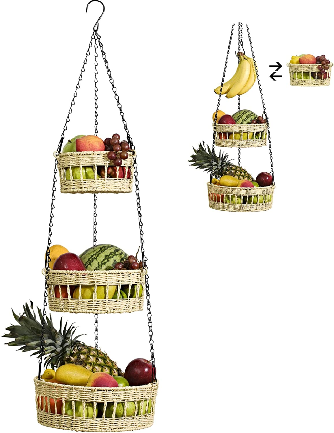 Hanging Fruit Basket 3 Tier - Free Up Countertop - Wicker Vegetable Storage and Fruit Organizer - Saves Space - Macrame Hanging Baskets for Kitchen with Banana Holder - Carries 20lb - Beige
