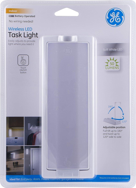 GE Wireless LED Task Light, Swivel, 50 Lumens, White, 12717, 9.25x 6.7X 1.2