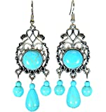 LiveSublime Silver Scrolls and Faux Turquoise Tibetan Style Dangle Drop Earrings