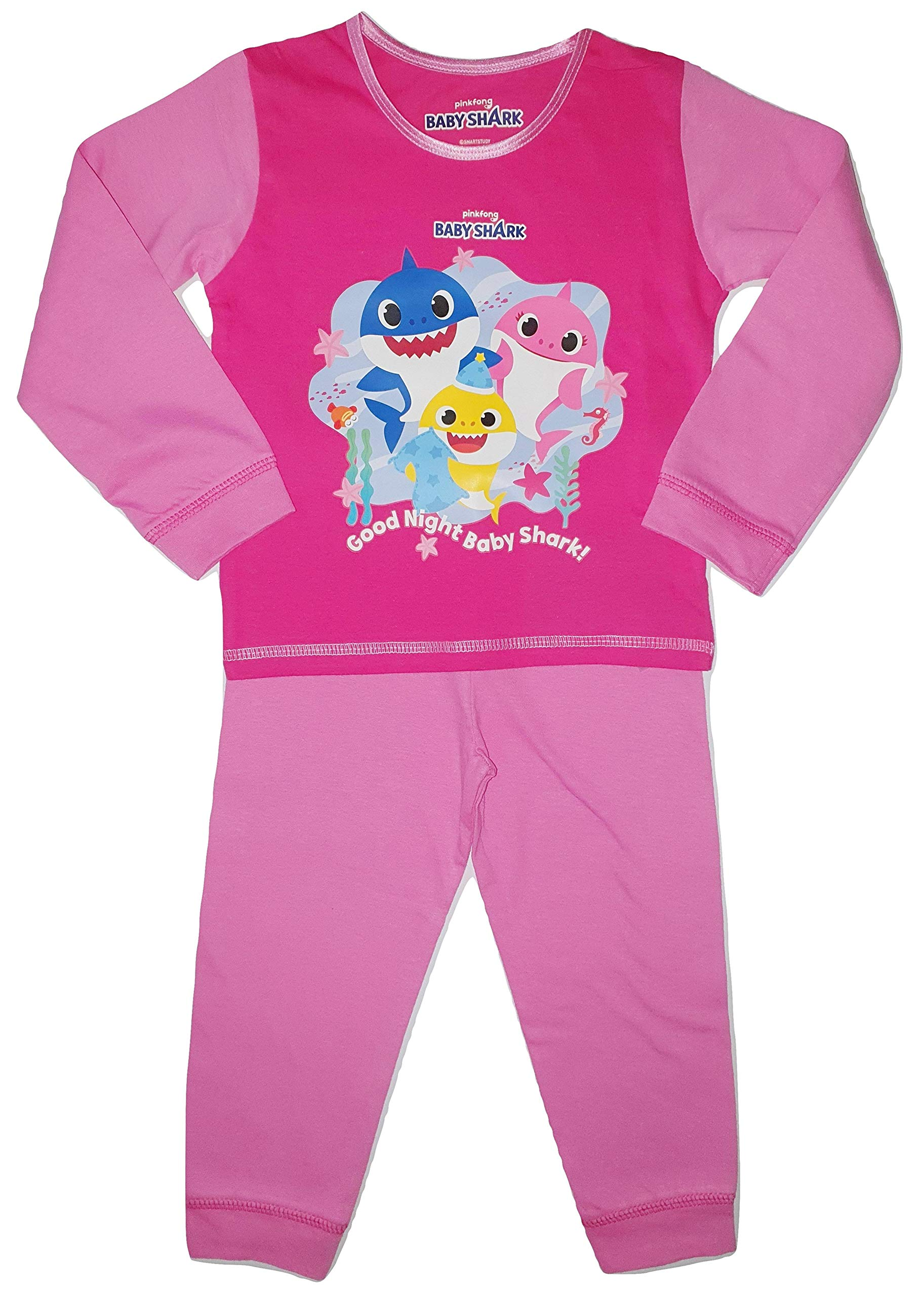 Pinkfong Girls Baby Shark Pyjamas Pjs Ages 18 Months to 5 Years Old