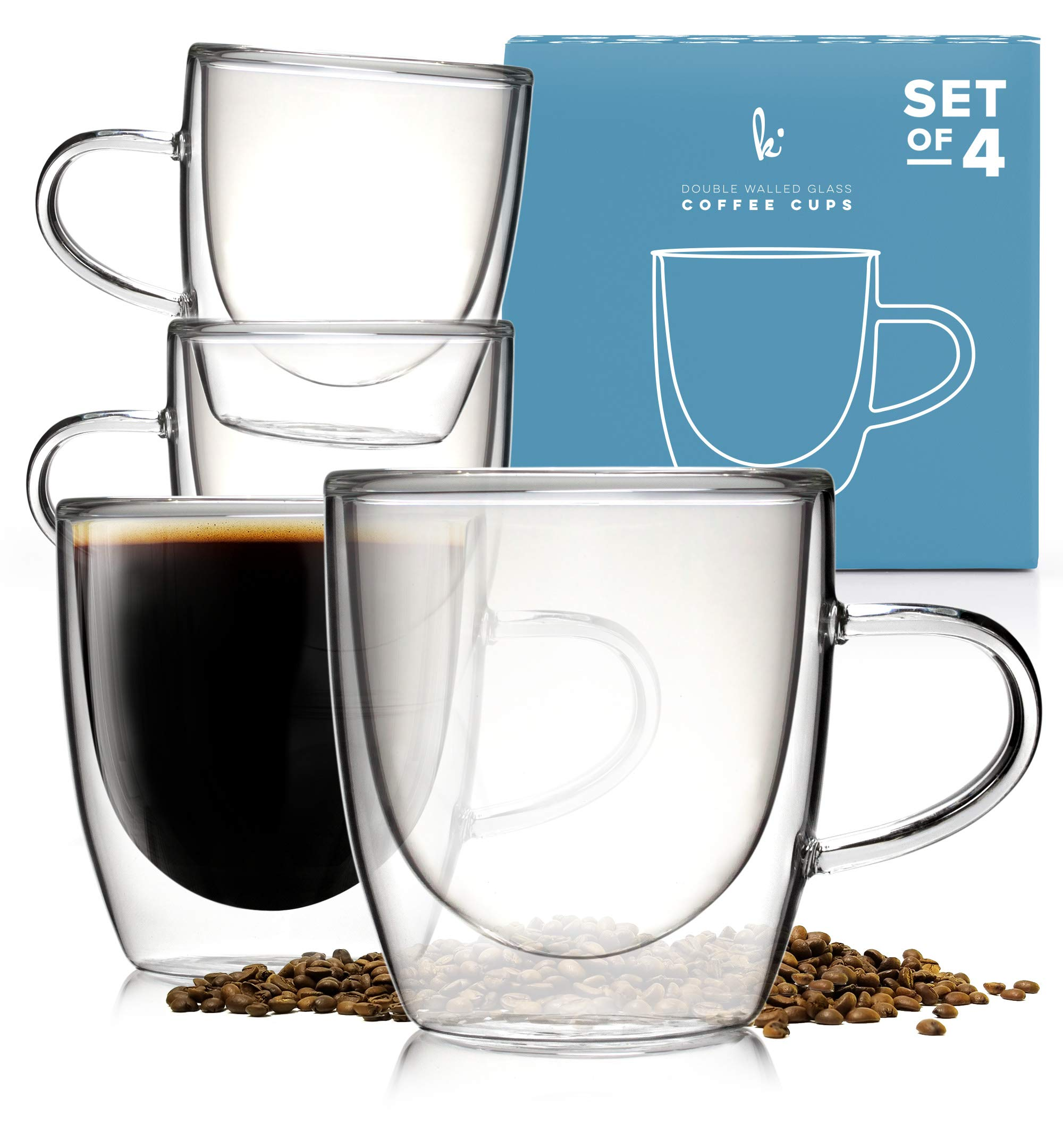 Glass Coffee or Tea Cups Drinking Glasses Set of 4-5oz Double Walled Thermo Insulated Mugs with Handle for Espresso Latte Cappuccino