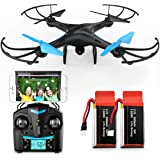 Force1 U45W Blue Jay Drones with Camera for Adults and Kids - WiFi FPV Drone Quadcopter with 720p HD Camera and 2 Batteries