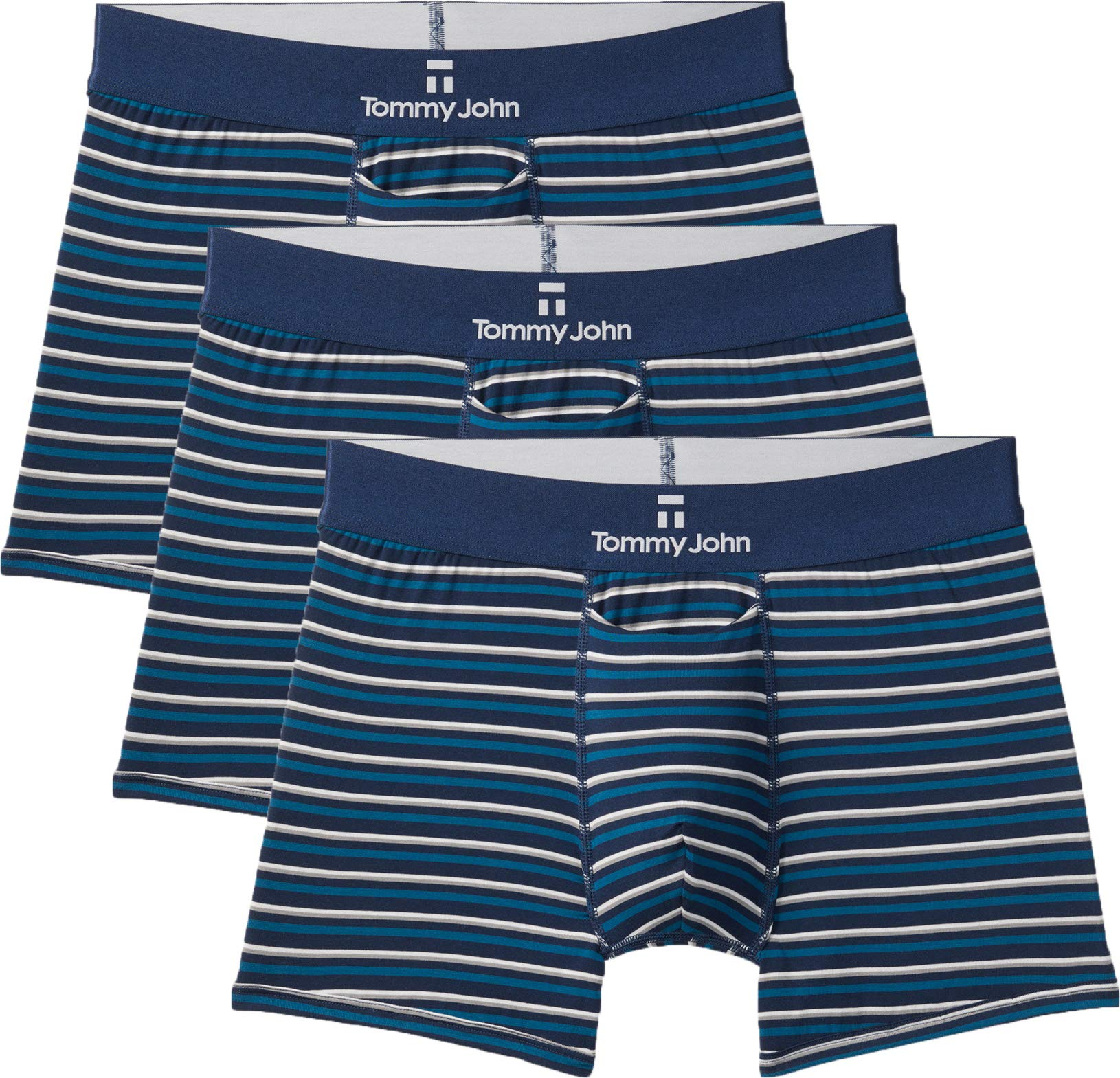 Tommy John Men's Second Skin Trunks - 3 Pack - Comfortable Breathable Soft Striped Underwear for Men (Ink Blue, Large) by Tommy John