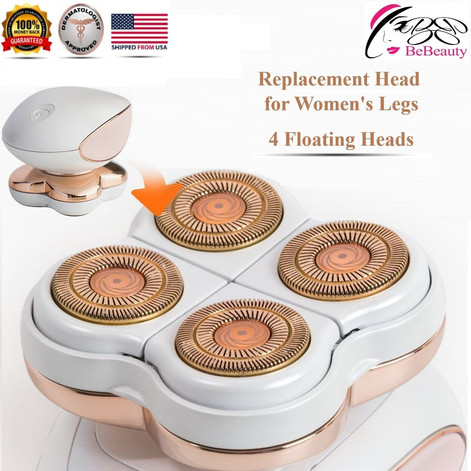 Replacement Blade Heads Legs Women Hair Remover, Hair Remover Replacement Head with a Bracket for Legs, Bikini, Arms, Ankles, Armpits As Seen On TV 4 Floating Heads.