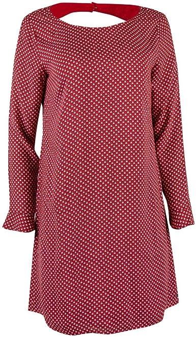 Ddp Robe Imprimee Rouge Femme Amazon Fr Vetements Et Accessoires