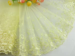 8 Inch Delicate Yellow Embroidered Flower Tulle Lace Trim For DIY, Lace Trim for Clothing, 5 Yard