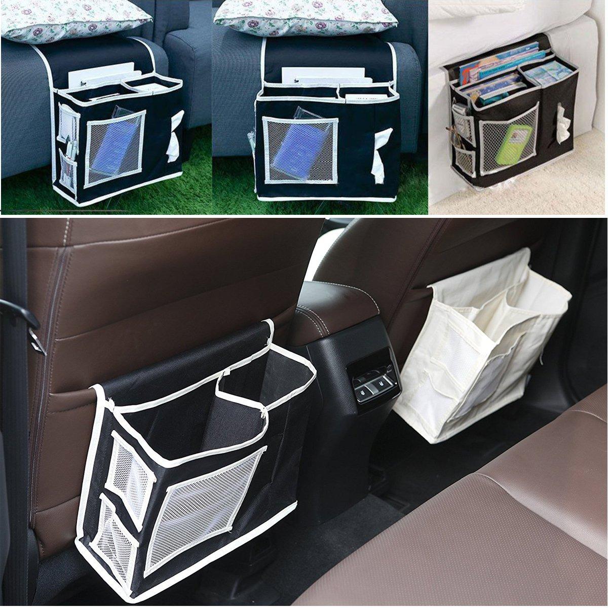 VOIMAKAS Bedside Hanging Storage Bag, 6 Pockets Oxford Cloth Organizer Bag for Book Magazine Phone Tissue TV Remote Accessory - Black by VOIMAKAS (Image #3)