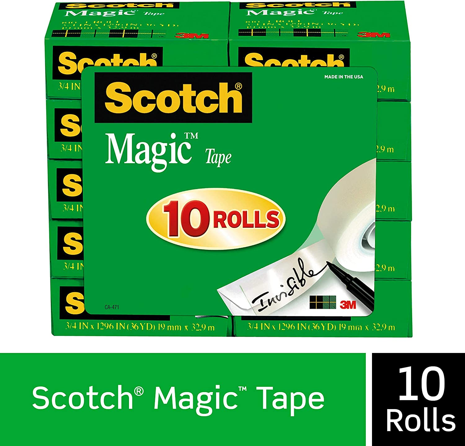 Scotch Magic Tape, 10 Rolls, Numerous Applications, Invisible, Engineered for Repairing, 3/4 x 1000 Inches, Boxed (810P10K)