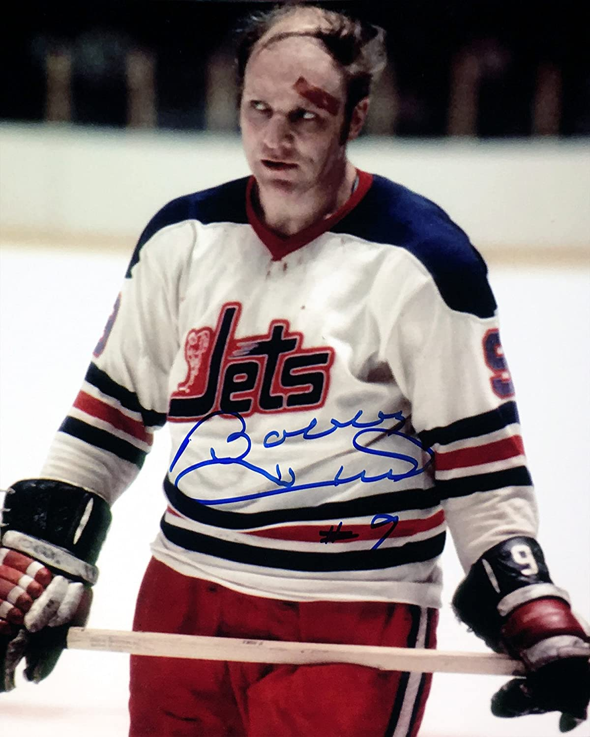 Bobby Hull Autographed 8x10 Photograph (Bloody) - Winnipeg Jets Autograph Authentic