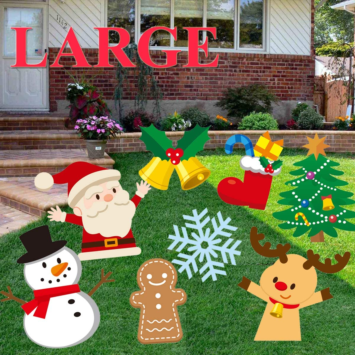 Christmas Yard Signs Stake 8 Pack Christmas Decorations Outdoor Garden Signs with Stakes Santa Claus,Snowman,Stocking,Snow Flake,Christmas elk,Christmas Tree,Bell,Gingerbread Man Holiday Party Decor