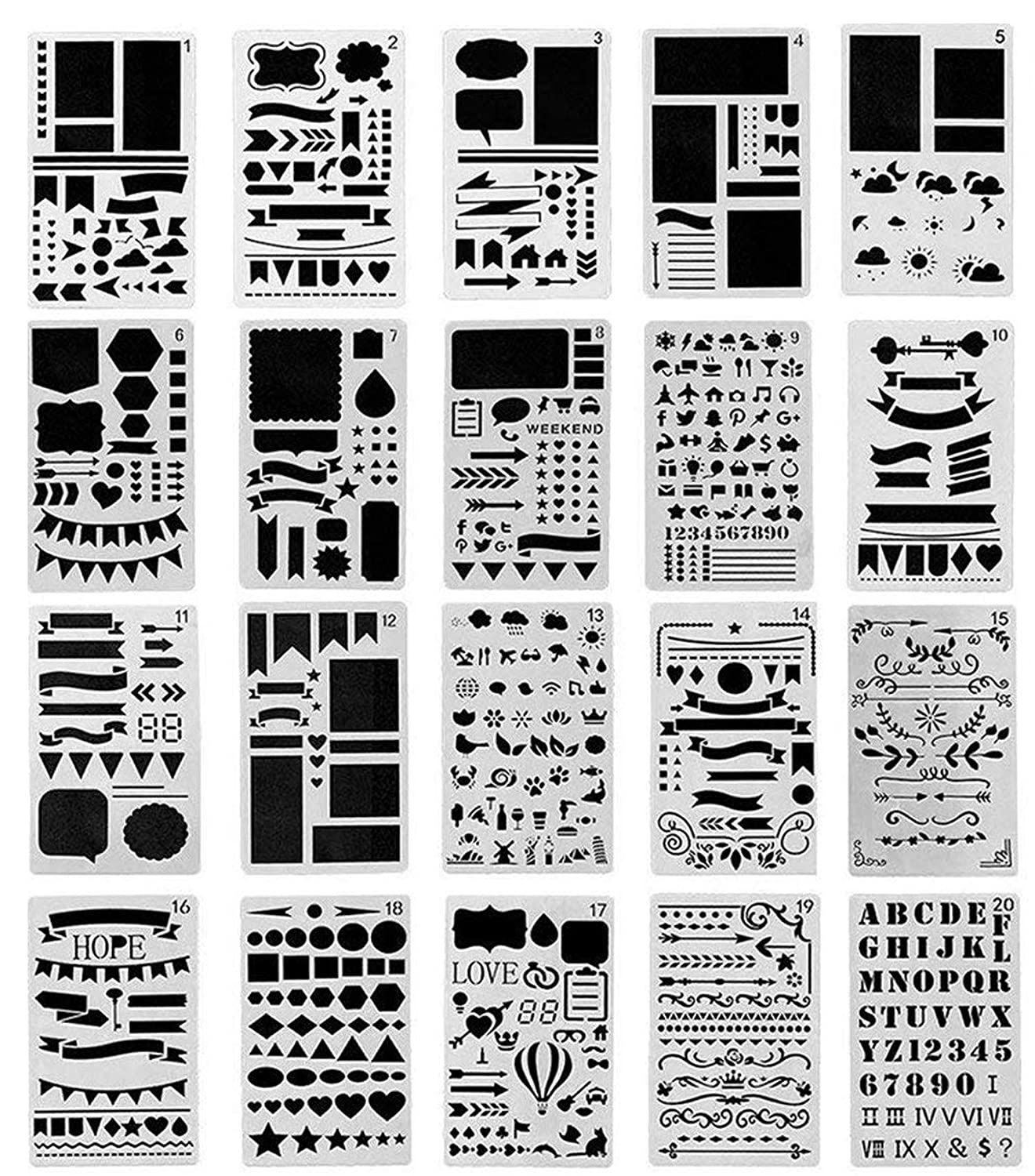Cymax 20 pz Plastica Disegno di righello Stencil scala Template set Grafica Stencil Template numero Stencil righello