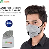 Grin Health Anti Pollution Foldable Face Mask with Easy Exhalation Valve (Pack of 2)