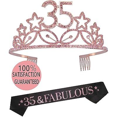 35Th Glitter S Happy 35Th Birthday Party Supplies 35Th Birthday Tiara And Sash