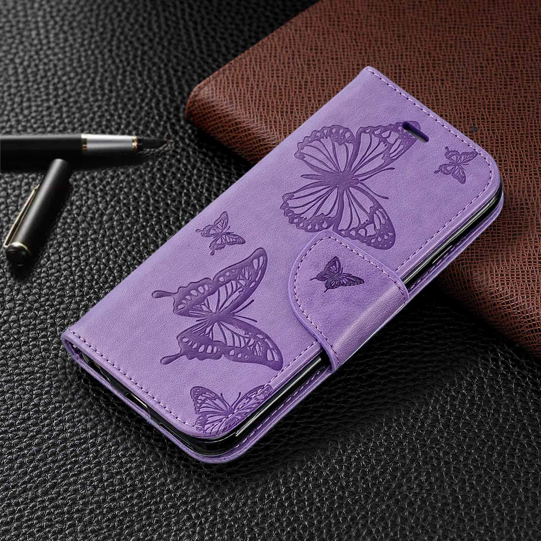 iPhone 6 // iPhone 6s H/ülle Schmetterling Brieftasche H/ülle mit Kartenfach Grau DENDICO Premium Leder Flip Handyh/ülle f/ür Apple iPhone 6 // iPhone 6s