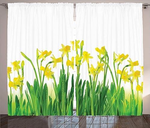 Ambesonne Daffodils Curtain