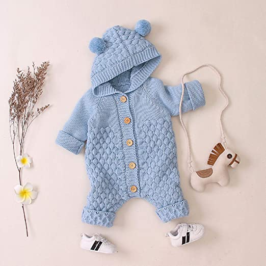 Homeriy Newborn Baby Ear Hooded Knitted Romper Snowsuit Jumpsuit Toddler Overalls One-Piece Bodysuit for Boy Girl