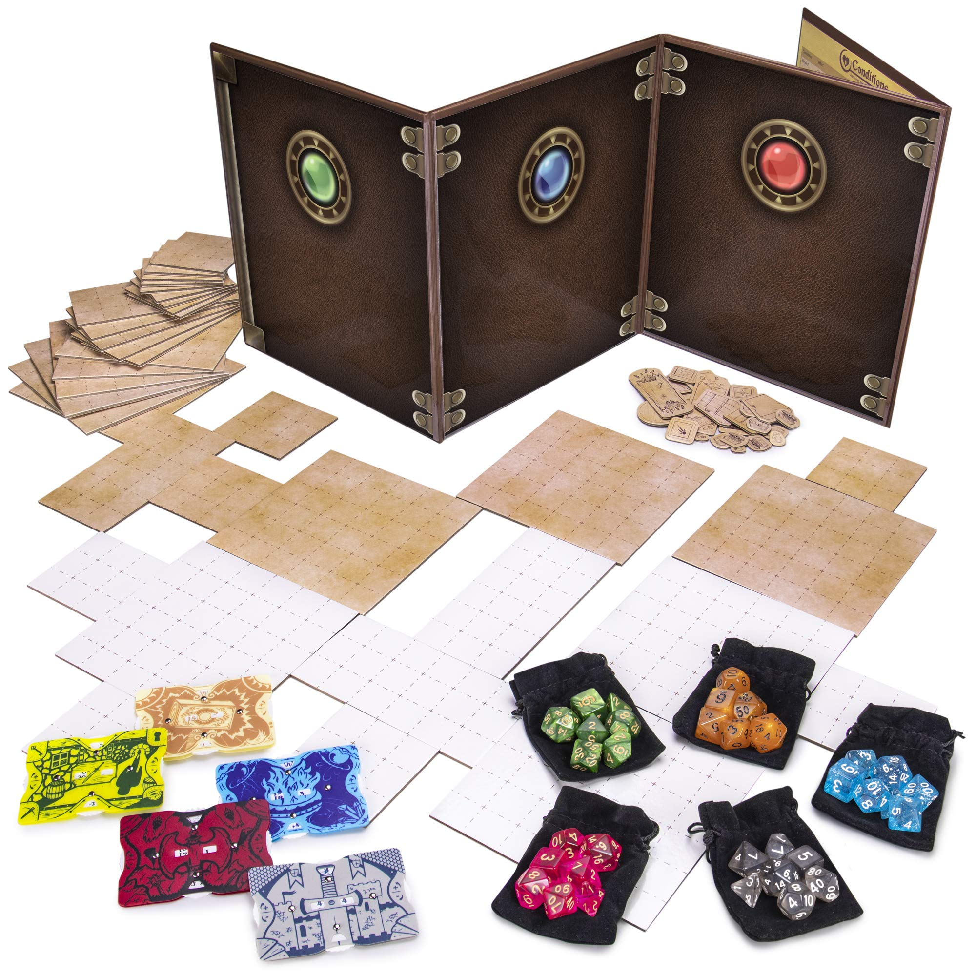 Dungeon Master Essentials: Roleplaying Starter Kit | Customizable GM Screen, 44 Reversible Map Tiles, 5 Character Health Trackers, 5 Polyhedral Dice Sets | Tabletop Fantasy Game Beginner Accessories by Stratagem (Image #1)