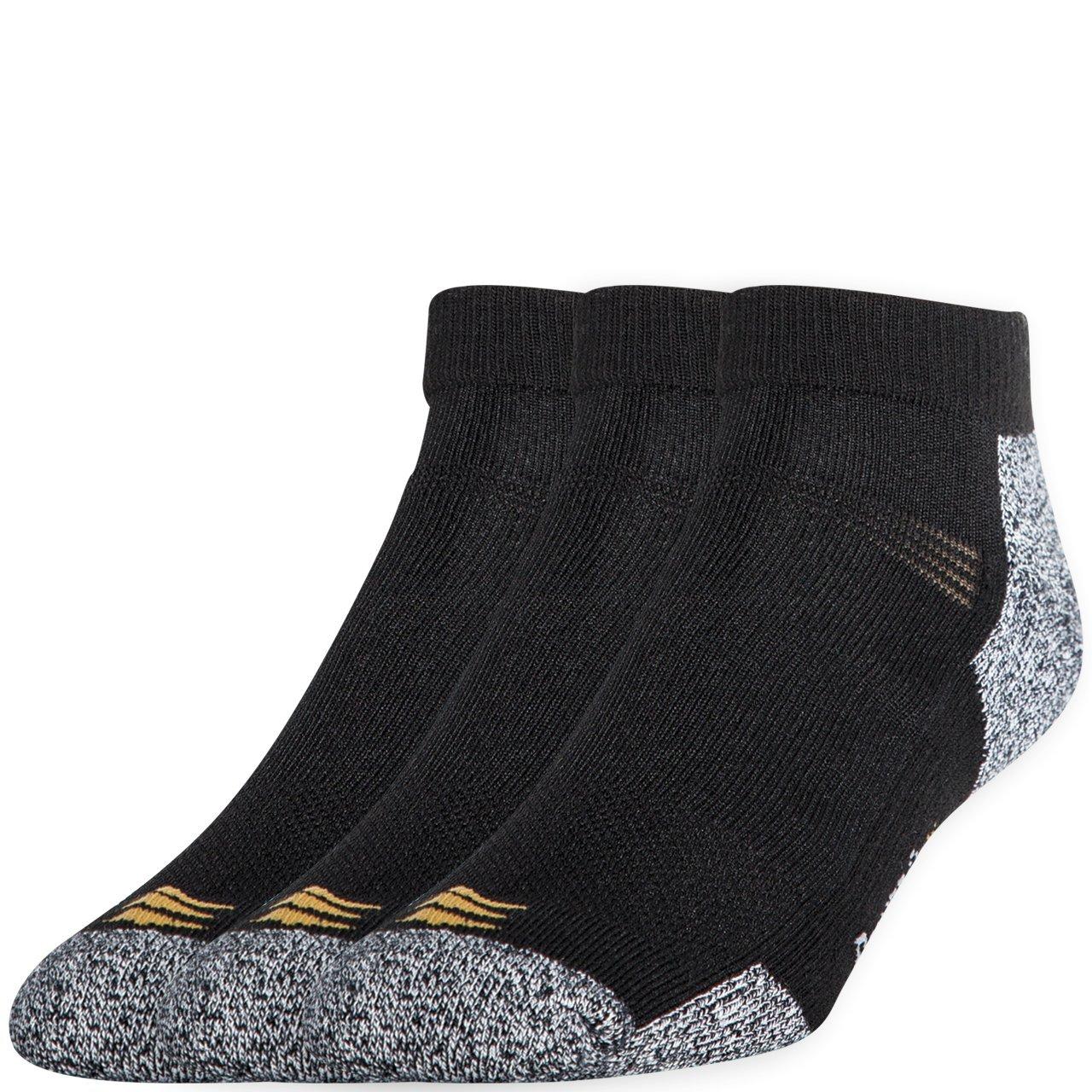 PowerSox Men's Powerlites 3-Pack Low Cut Socks with Moisture Control Black 10-13(9-12.5 shoe size)