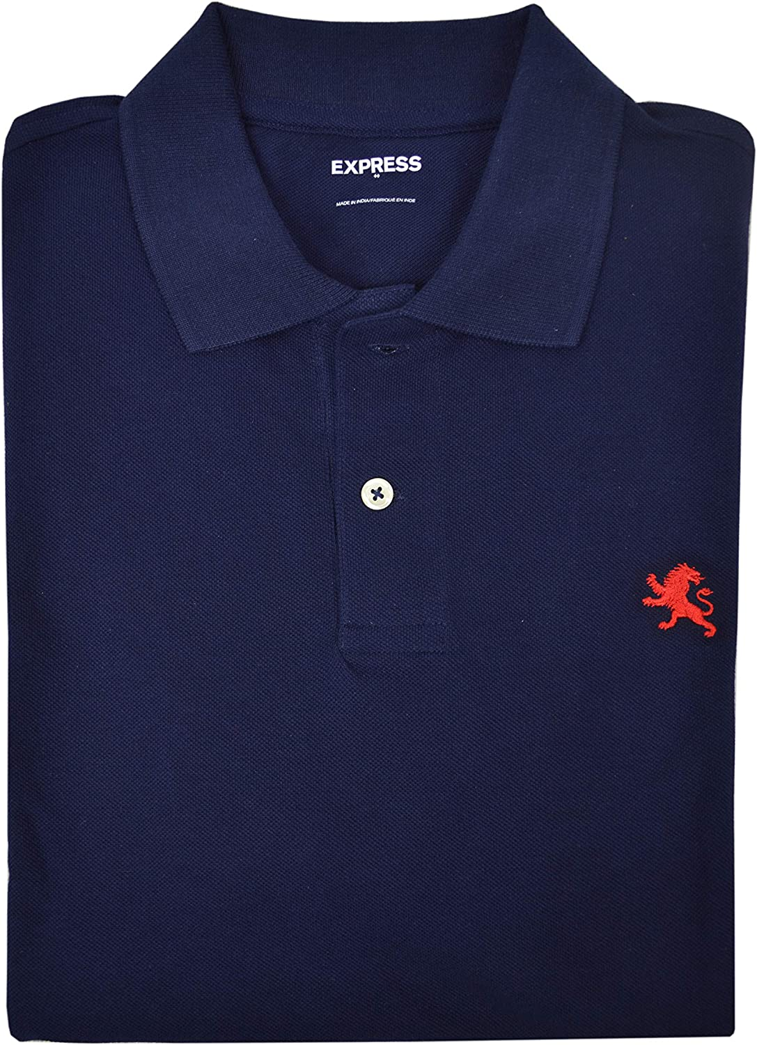 Classico Pot crack Manutenzione  Express Mens Short Sleeve Lion Embroidered Pique Polo Shirt Navy Blue  (Small) at Amazon Men's Clothing store