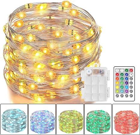 Amazon.com: Luces LED de hadas Asmader, alimentadas con ...