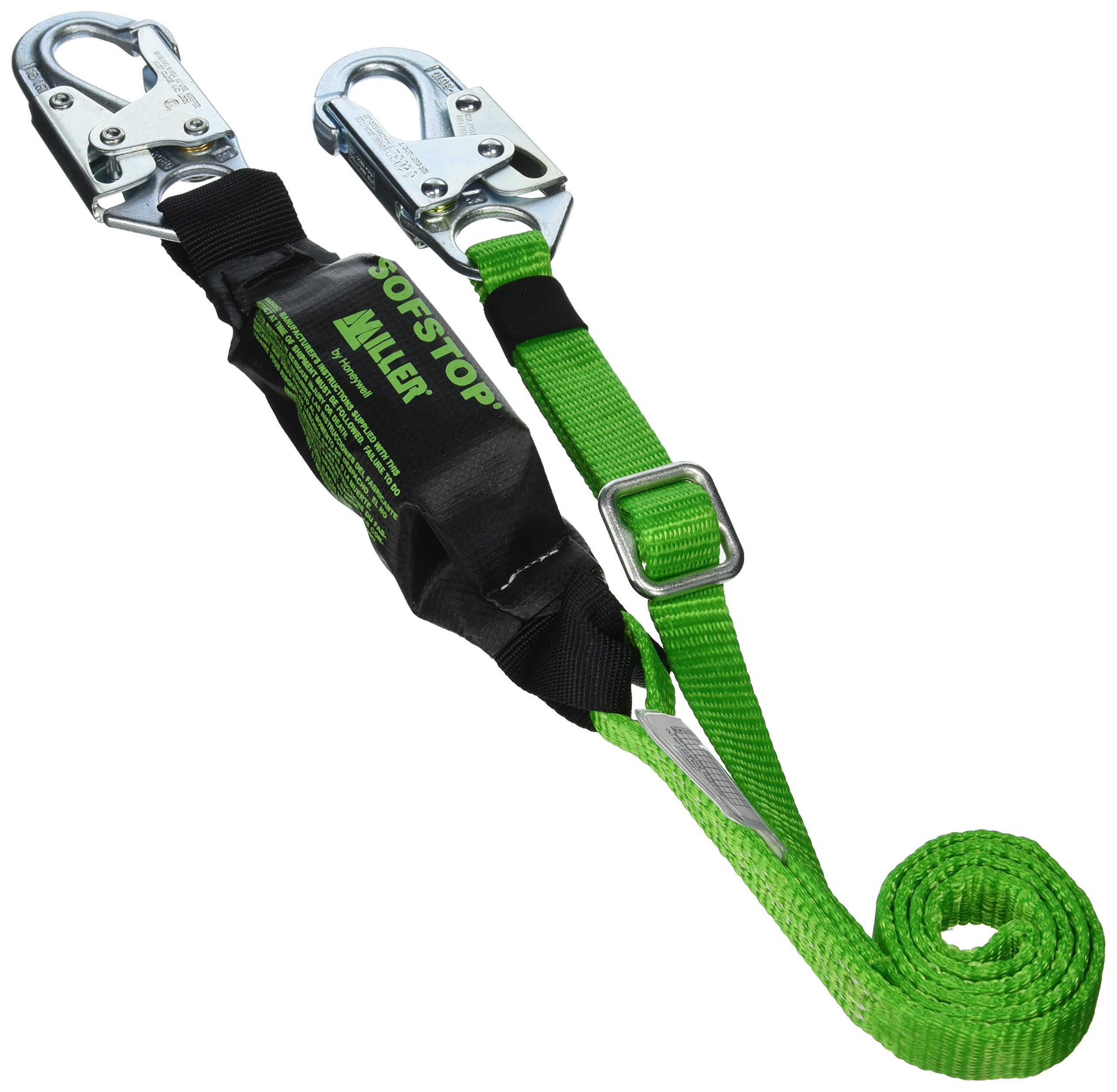Miller by Honeywell 910TWLS/6FTGK 6-Feet HP Adjustable Web Lanyard with SofStop Shock Absorber and Two Locking Snap Hooks