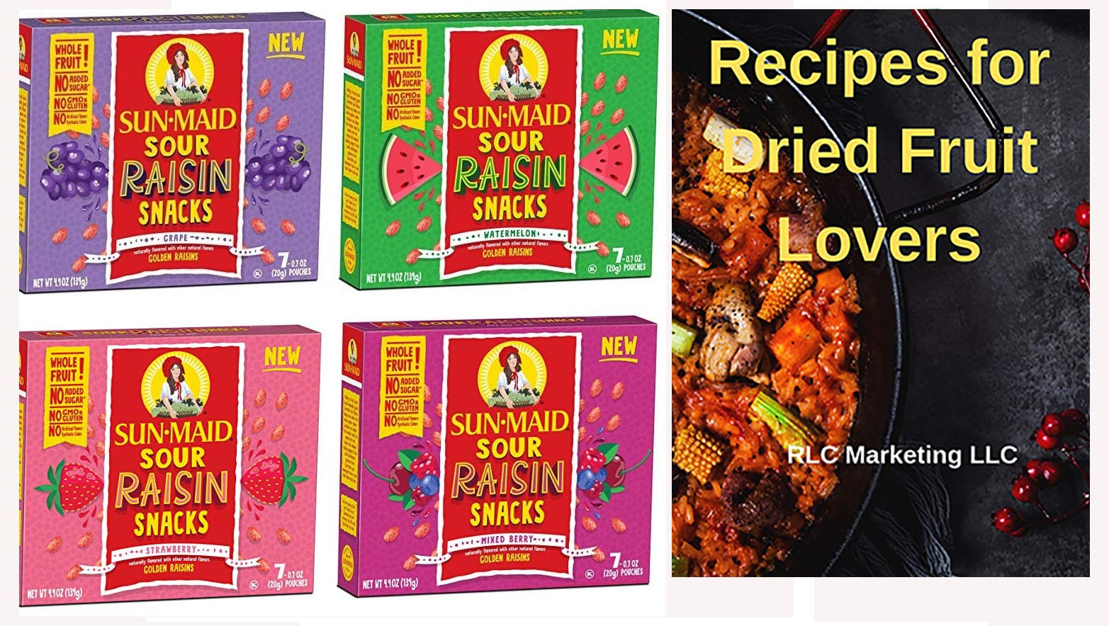Sun Maid Sour Raisins Variety Pack - 4 Total Boxes Including Sour Grape, Sour Watermelon, Mixed Berry and Strawberry - Great Value by SunMaid
