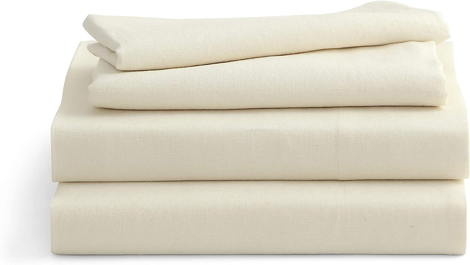 Prewashed /& Oeko-TEX Certified Ivory Bedding Full 2 Pillowcases Flat Sheet Solino Home 100/% Pure Linen Belgian Bed Sheet Set Fitted Sheet 4 Piece