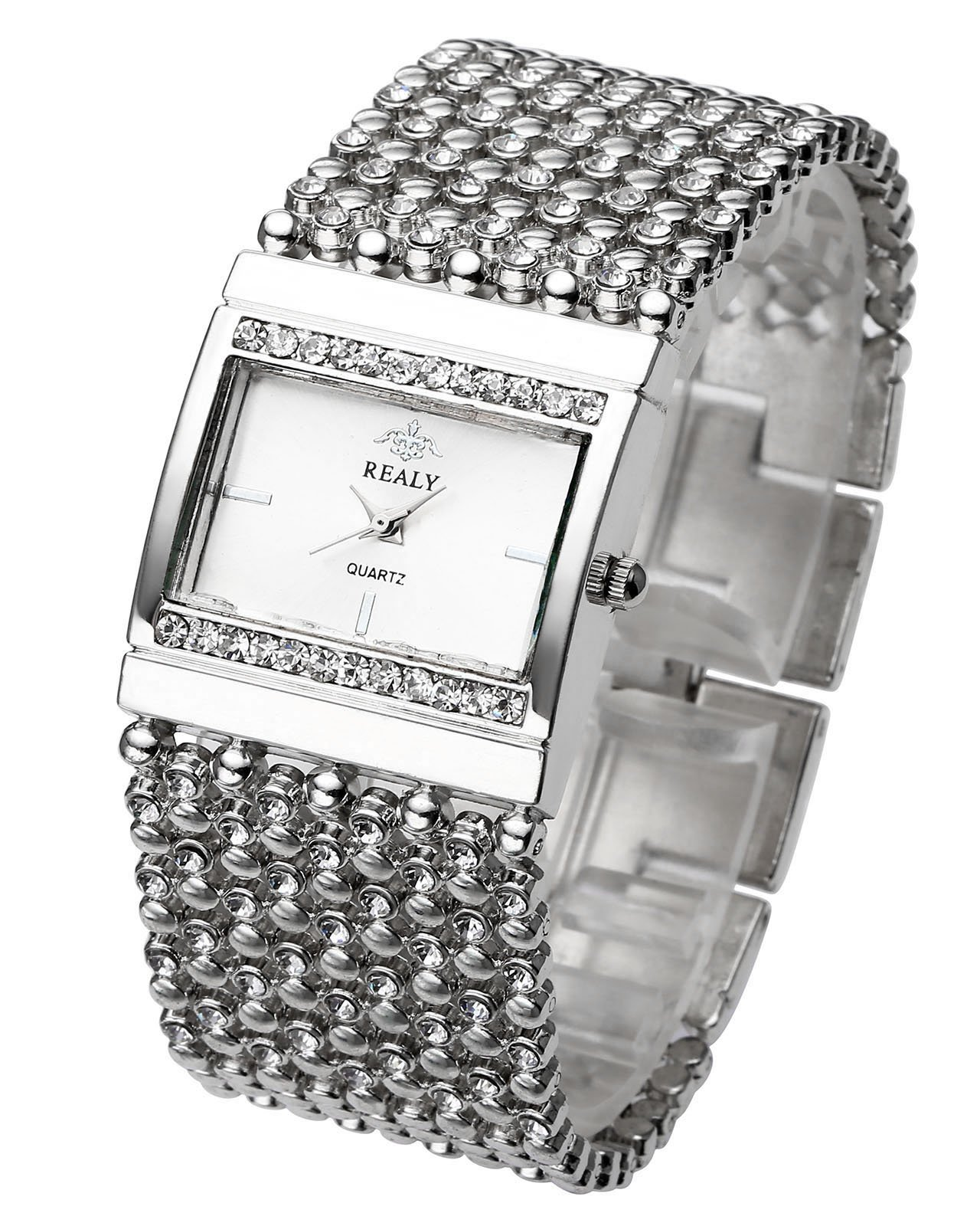 Top Plaza Women Luxury Fashion Bracelet Analog Quartz Watch Silver Tone Big Face Large Dial Wide Band Rhinestone Decorated Waterproof Cuff Watch,Rectangle Case 38×25 MM