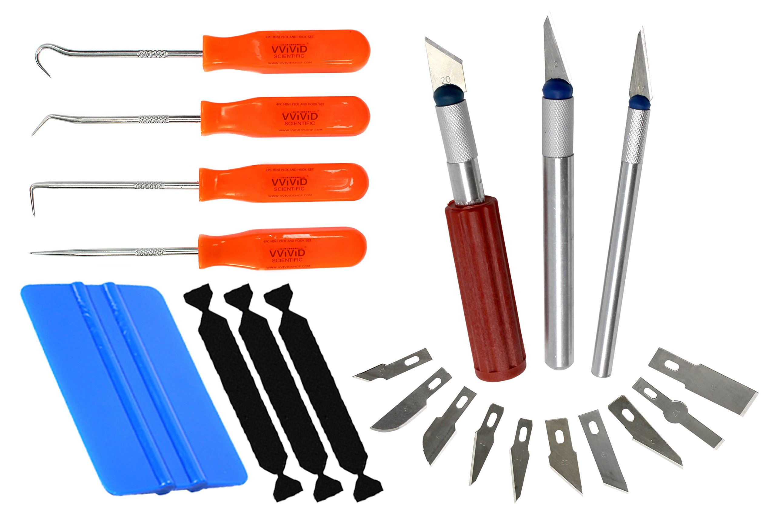 VViViD Complete Vinyl Weeding and Application Toolkit Bundle Including Weeding Tools, Craft Cutting Multi-Blade Kit, Squeegee and 3 Black Felt Decals