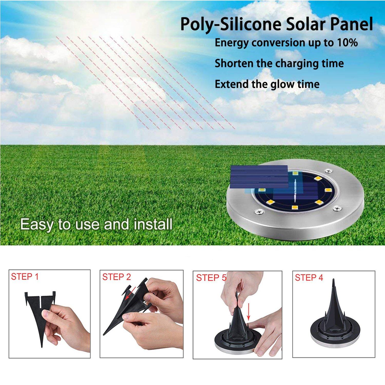 4x DEL solaire SOL installation Projecteur Sol Projecteur éclairage Extérieur Blanc Chaud Rond